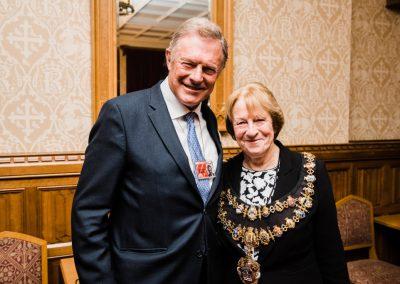 From left- Lord Anthony St John, Elizabeth O'Keefe (Mayor of Newbury)